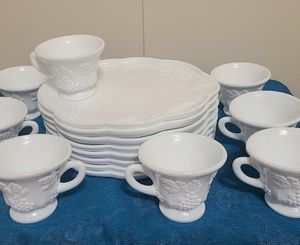 Milk glass 16 setting tea cup/ snack platter